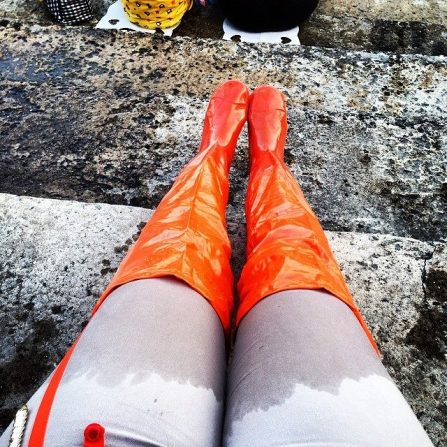 So much for the thigh high flood boots.